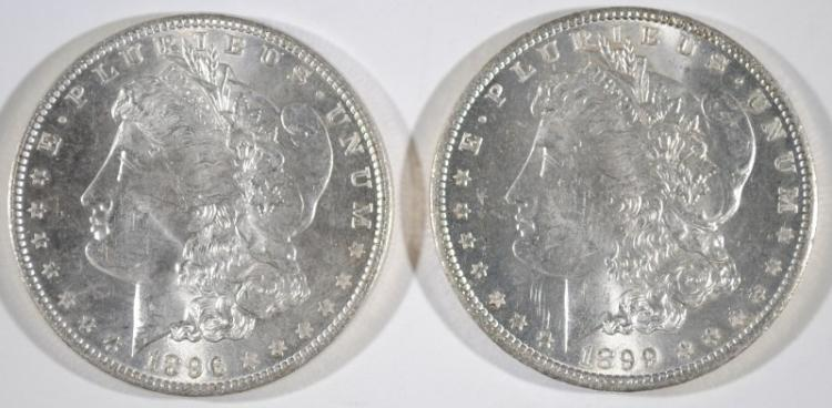 1899-O & 1896 MORGAN SILVER DOLLARS - CHOICE BU's