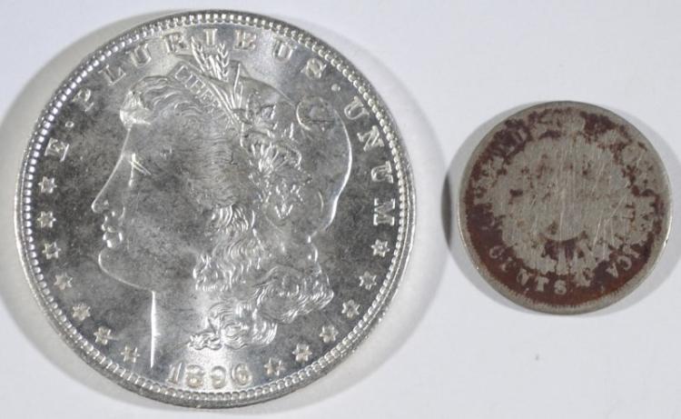 1896 MORGAN DOLLAR GEM BU & 1867 RAYS SHIELD NICKEL AG