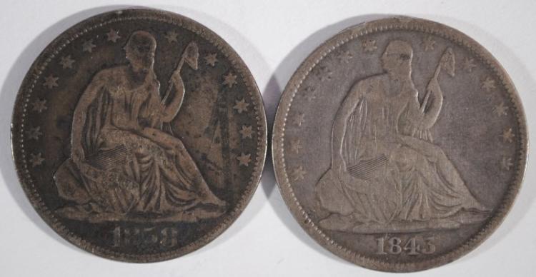 1843 & 1858-O SEATED HALF DOLLARS, VG/FINE