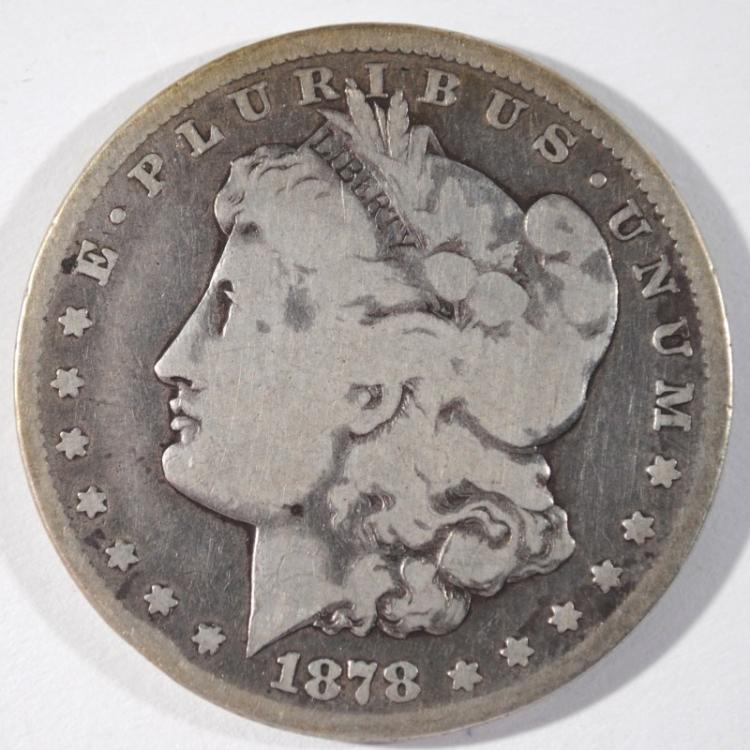 1878-CC MORGAN SILVER DOLLAR, VG