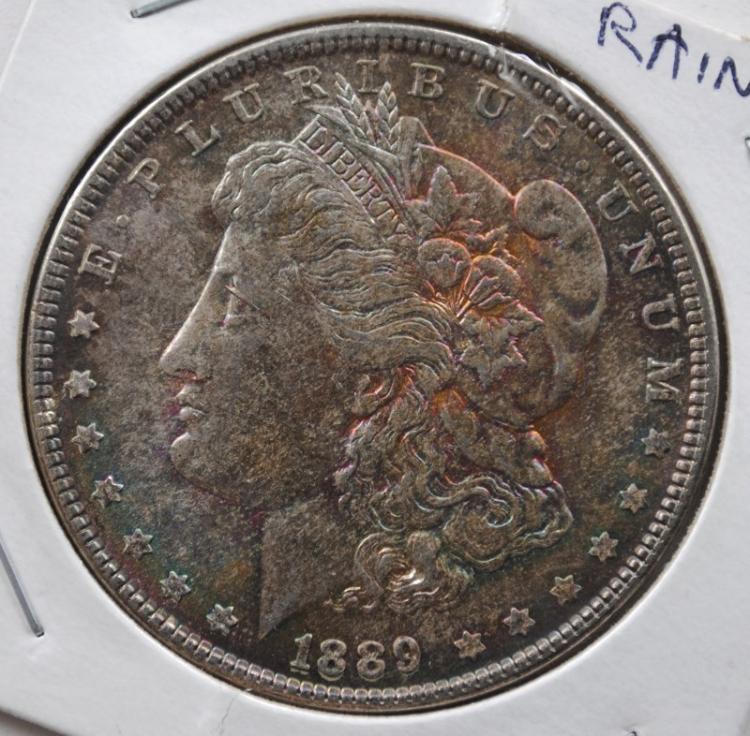 1889 MORGAN DOLLAR CH/GEM BU RAINBOW TONED