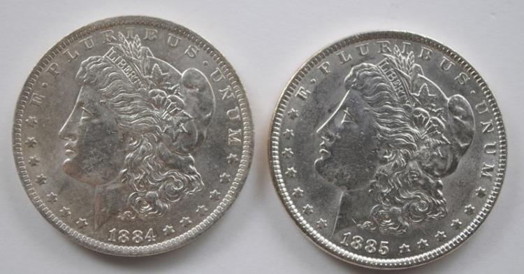 2 BU MORGAN DOLLARS 1884-O, & 85