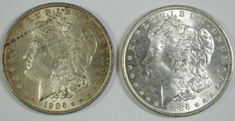 ( 2 ) 1886 MORGAN SILVER DOLLARS, CHOICE BU