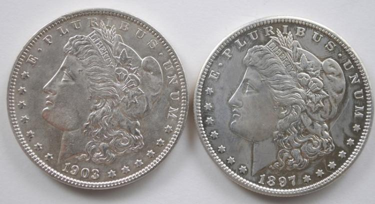 1903 MORGAN DOLLAR BU, & 1897-S BU CLEANED
