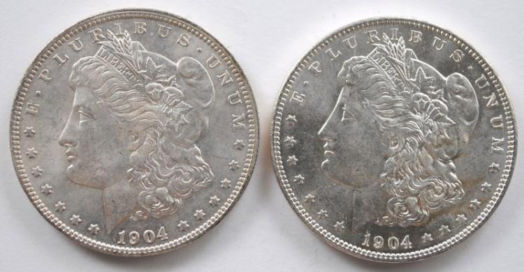 2 1904-O MORGAN DOLLARS CH BU