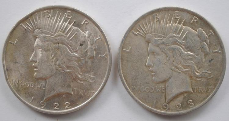 1922 AND 1923 PEACE SILVER DOLLARS, AU/BU  ( rim bumps on the  1922 )
