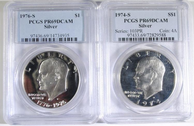 1974-S & 1976-S SILVER EISENHOWER DOLLARS,: BOTH PCGS PR-69 DCAM