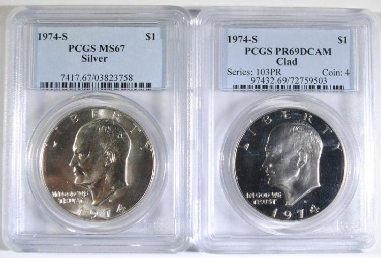 ( 2 )  PCGS GRADED 1974-S EISENHOWER DOLLARS: 1 SILVER MS-67 & 1-CLAD PR-69 DCAM