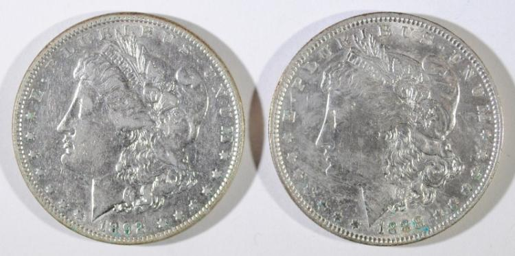 1888 BU & 1892, XF MORGAN SILVER DOLLARS