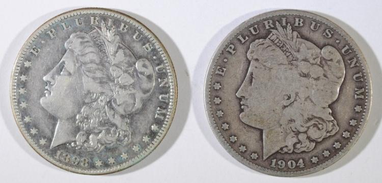 1898-S VF & 1904-S VG MORGAN SILVER DOLLARS