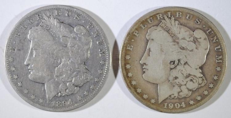 1894-O FINE & 1904-S VG MORGAN SILVER DOLLARS
