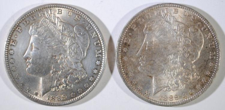 ( 2 ) NICE BU 1889 MORGAN SILVER DOLLARS