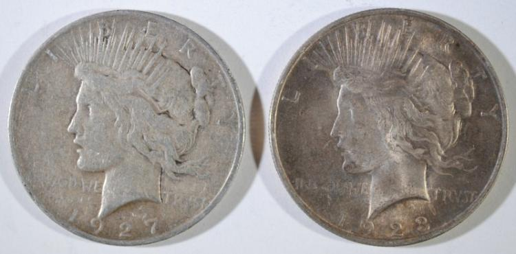1923 UNC TONED & 1927-F FINE PEACE SILVER DOLLARS
