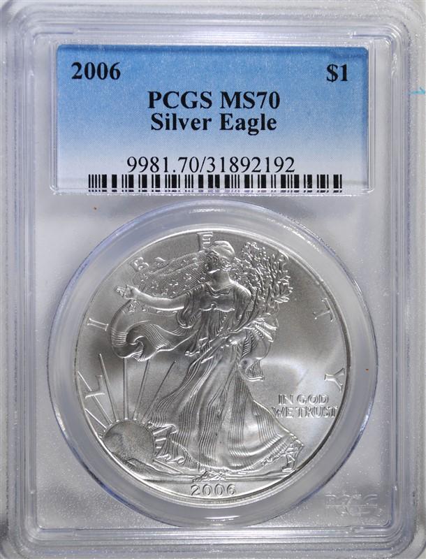 2006 AMERICAN SILVER EAGLE, PCGS MS-70