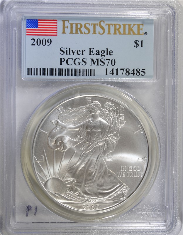 2009 AMERICAN SILVER EAGLE, PCGS MS-70 FIRST STRIKE