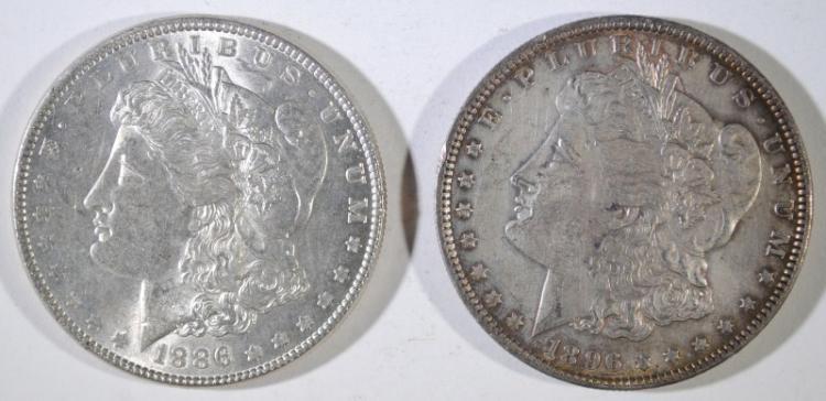 1886 & 1896 MORGAN SILVER DOLLARS, AU/UNC
