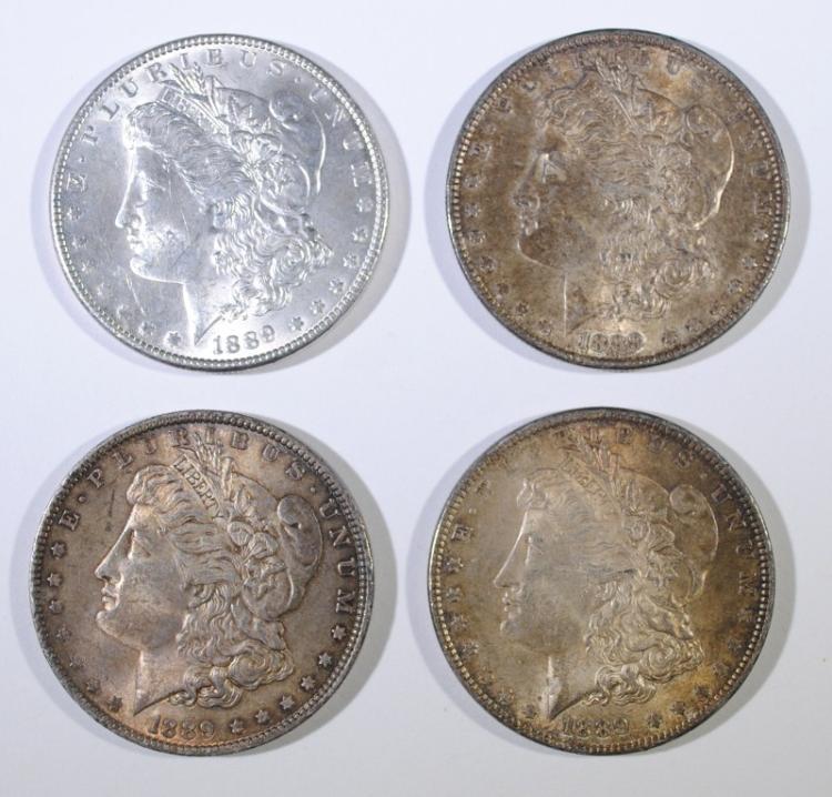 ( 4 ) 1889 MORGAN SILVER DOLLARS: BOTH CHOICE BU ORIGINALS