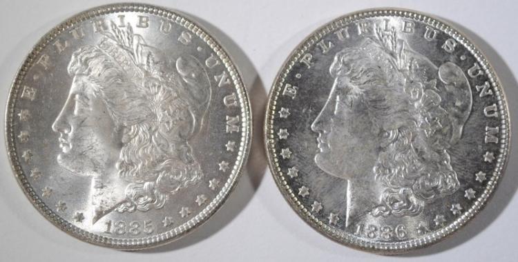 1885 & 1886 MORGAN DOLLARS CH BU