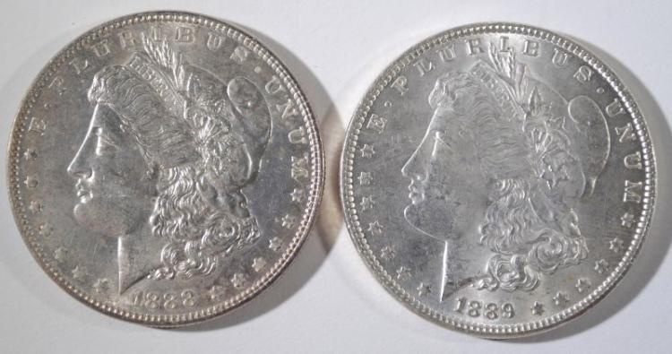 1888, & 1889 MORGAN DOLLARS CH BU