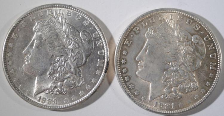 1889 & 1921 MORGAN SILVER DOLLARS, CHOICE BU
