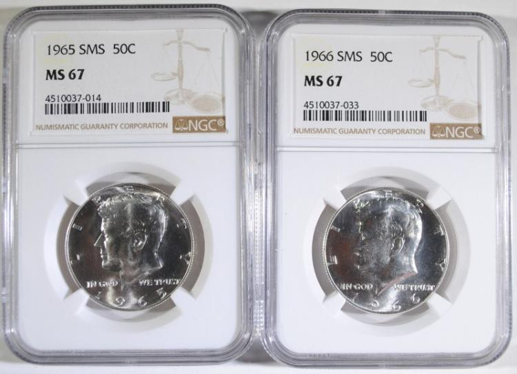 1965 & 1966 SMS KENNEDY HALF DOLLARS - NGC MS67