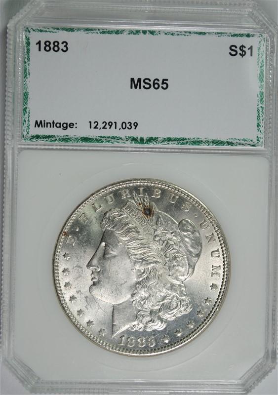 1883 MORGAN SILVER DOLLAR, PCI GEM BU