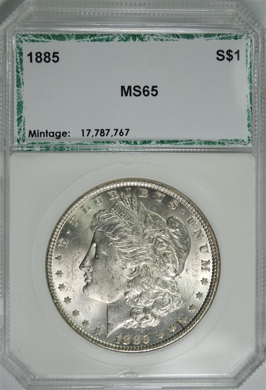 1885 MORGAN SILVER DOLLAR, PCI GEM BU