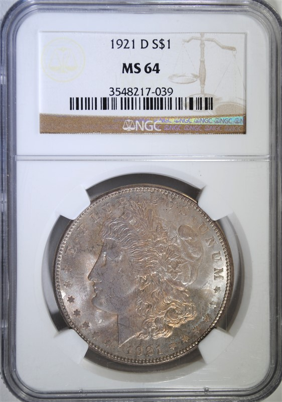 1921-D MORGAN SILVER DOLLAR, NGC MS-64
