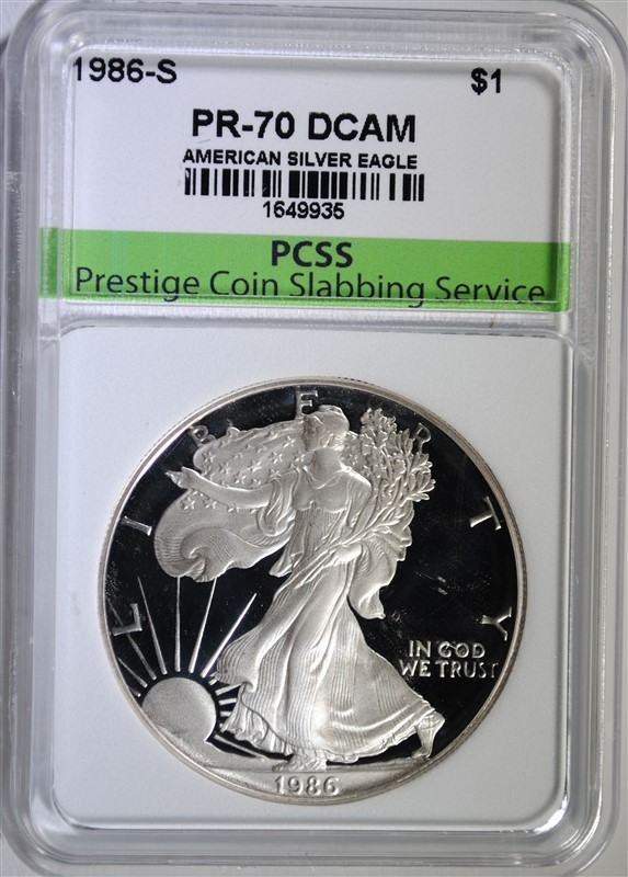 1986-S AMERICAN SILVER EAGLE, PCSS PERFECT GEM PROOF DCAM