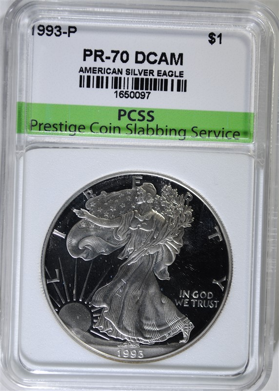 1993-P AMERICAN SILVER EAGLE, PCSS PERFECT GEM PROOF DCAM
