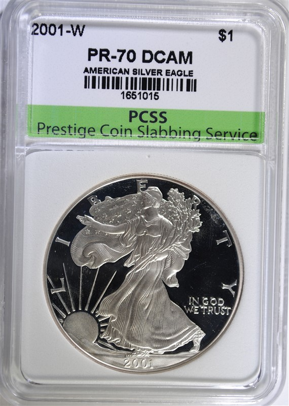 2001-W AMERICAN SILVER EAGLE, PCSS PERFECT GEM PROOF DCAM