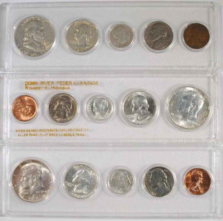 1957 & ( 2 ) 1964 5-PIECE SETS IN PLASTIC HOLDERS