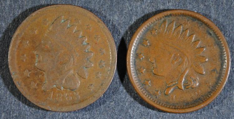 ( 2 ) 1863 NOT ONE CENT CIVIL WAR TOKENS