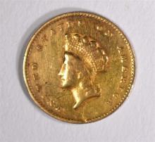1855-O TYPE 2 $1 GOLD XF RIM NICKS