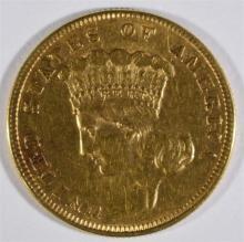 1887 $3 GOLD AU LIGHT MARKS