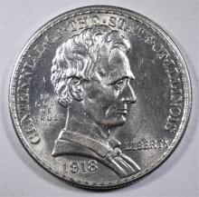 1918 LINCOLN-ILLINOIS COMMEMORATIVE HALF DOLLAR, CHOICE BU