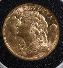 1902 B SWITZERLAND 20 FRANCS GOLD, BU