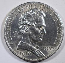 1918 LINCOLN COMMEMORATIVE HALF DOLLAR, CHOICE BU+