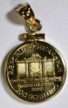 2000 1/10th Oz GOLD AUSTRIA PHILHARMONIC IN 14k GOLD BEZEL