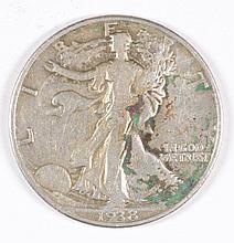 1938-D WALKING LIBERTY HALF DOLLAR VG
