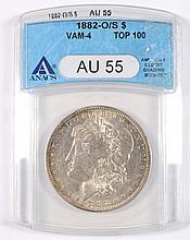 1882-O/S MORGAN DOLLAR ANACS AU-55