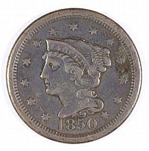 1850 LARGE CENT VF+ (DAMAGED)