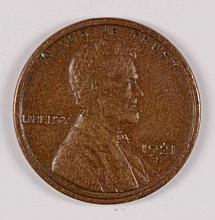 1921-S LINCOLN CENT XF-45
