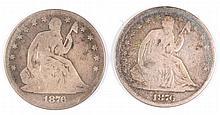 (2) SEATED HALF DOLLARS (76, 76-S)