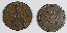 1797 MIDDLESEX TOKEN OFF CENTER F, & 1831 ISLE OF MAN HALF P. VF