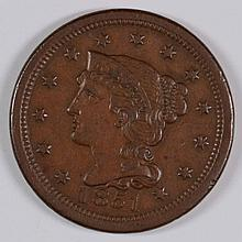 1851 LARGE CENT N-29 ATTRACTIVE AU SHARP STRIKE