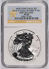 2013-W REVERSE PROOF SILVER EAGLE NGC PF-69 FIRST RELEASE