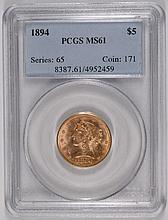 1894 $5  GOLD LIBERTY PCGS MS-61