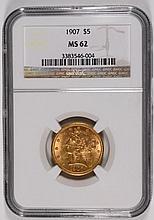 1907 $5 GOLD LIBERTY NGC MS-62 LOOKS NICER