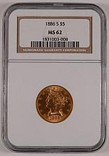 1886-S $5 GOLD LIBERTY NGC MS-62 POPULAR S MINT